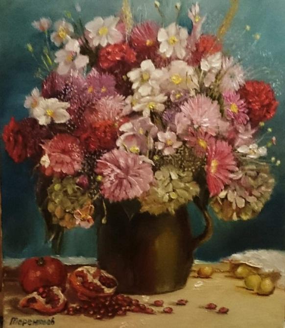 Evgeny Vladimirovich Terentyev. Bouquet, pomegranate and cherry plum