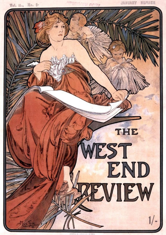 Alfons Mucha. Cover of West end review, January 1898