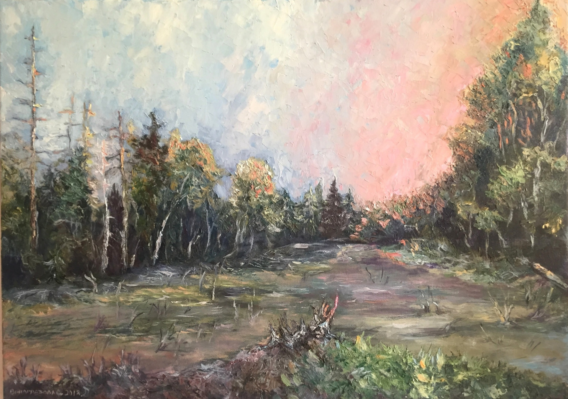 """Sophia Vinogradova. The painting """"Stump at Dawn"""" (oil on canvas, palette knife, trees sky forest sunset dawn sunset stump swamp meditations pink pink)"""