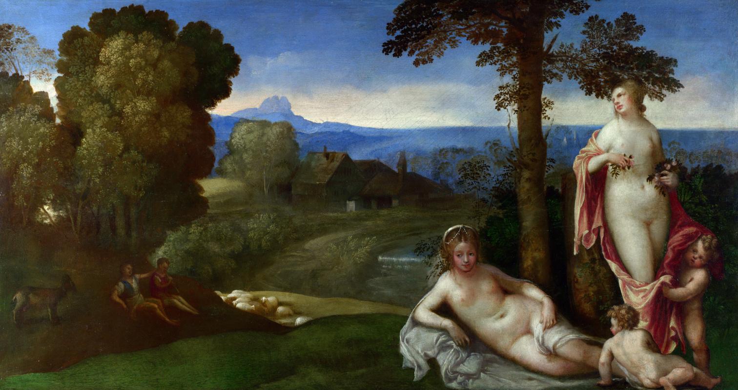 Оф Гиопгион Имитатор. Нимфы и дети на пейзаже с пастухами
