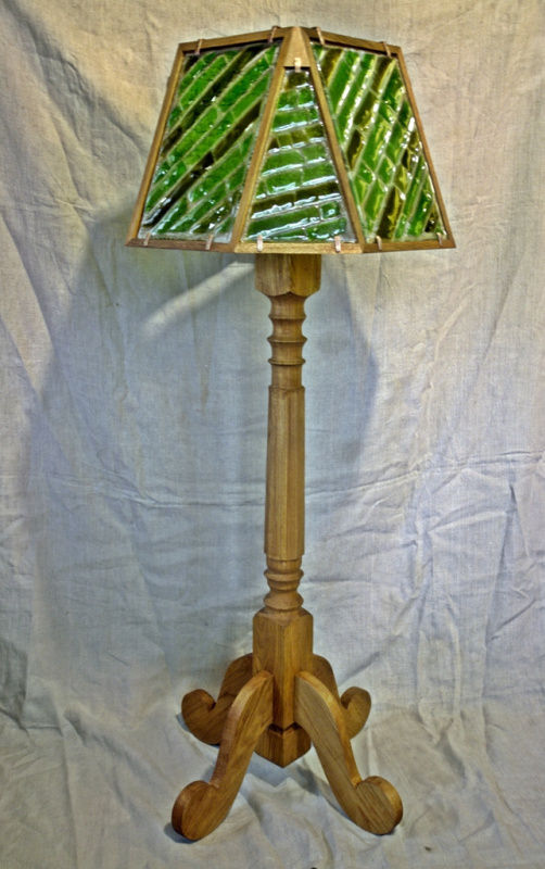 Igor Yurevich Drozhdin. Floor lamp with stained glass fusing emerald