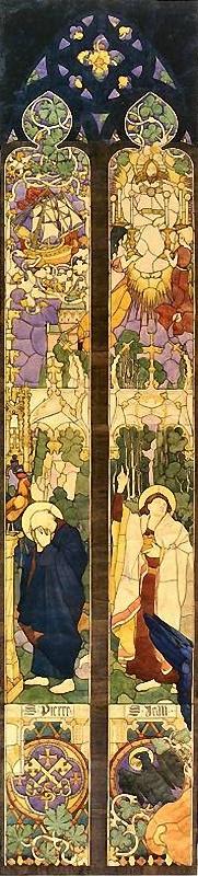 Юзеф Мехоффер. Святые Петр и Иоанн, эскиз для витража «Апостолы» в кафедральном соборе Фрибурга