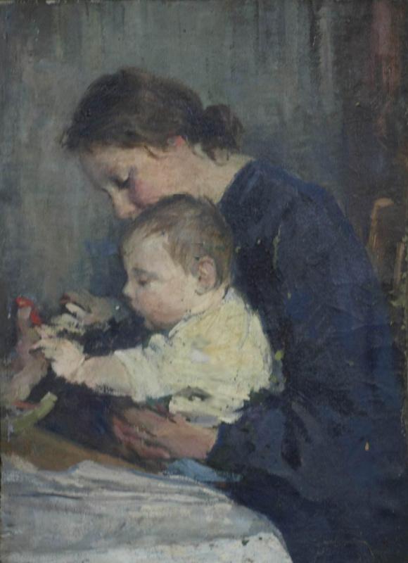 Евгений Иванович Бригадиров. Портрет жены с сыном