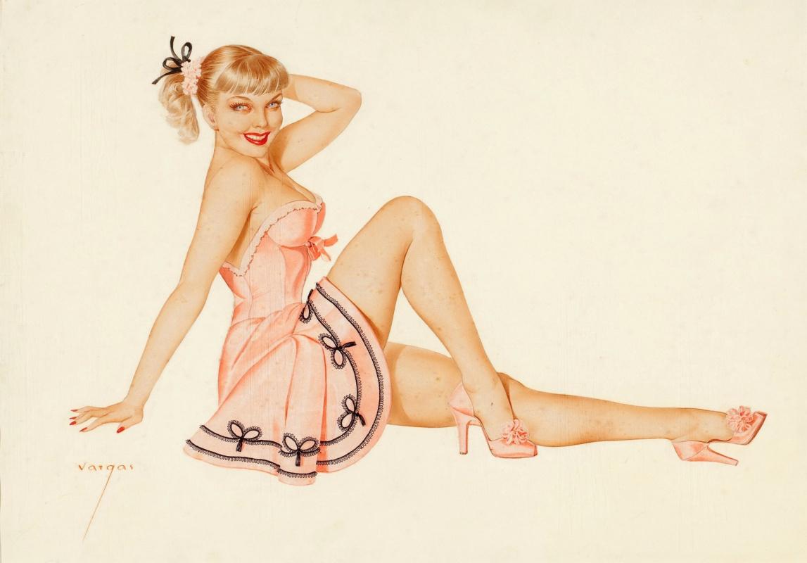 Альберто Варгас. Блондинка в розовом. 1940-е
