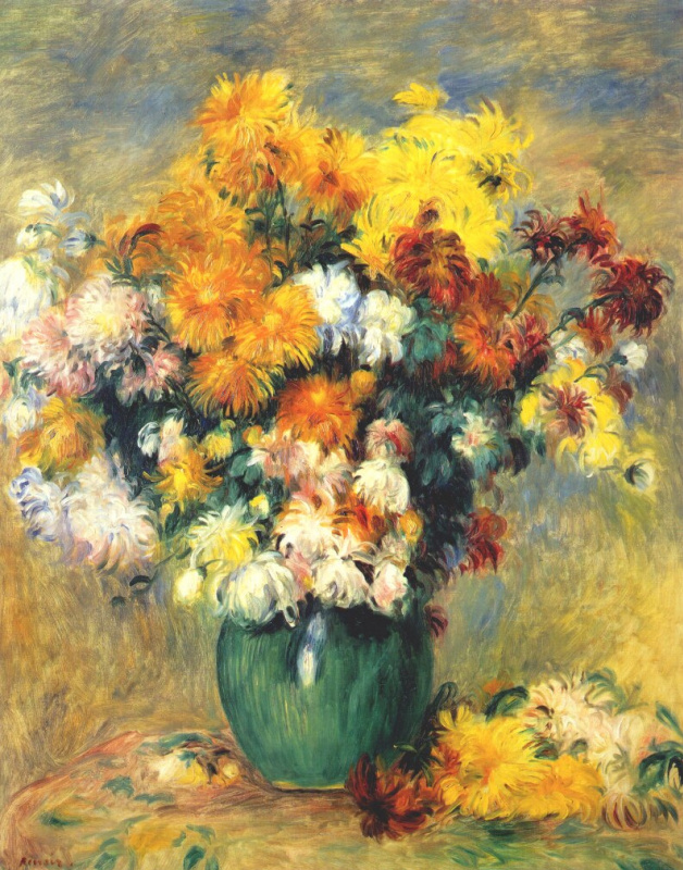 Pierre-Auguste Renoir. Bouquet of chrysanthemums