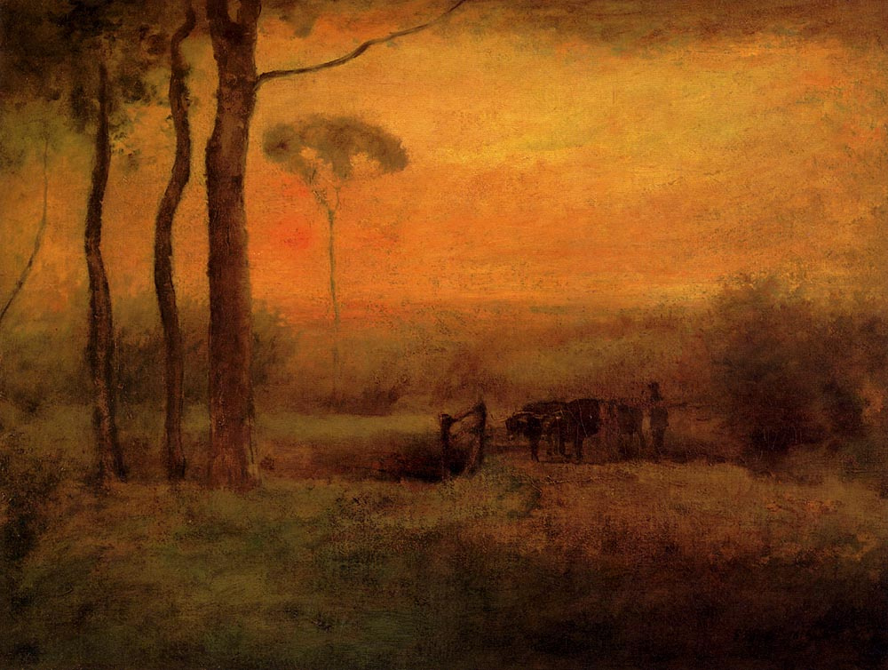 George Innes. Pastoral landscape at sunset