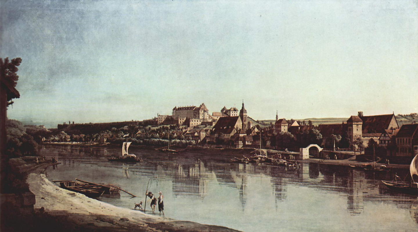 Giovanni Antonio Canal (Canaletto). View of Pirna, Pirna from the Kopytsya with fortress Sonnenstein
