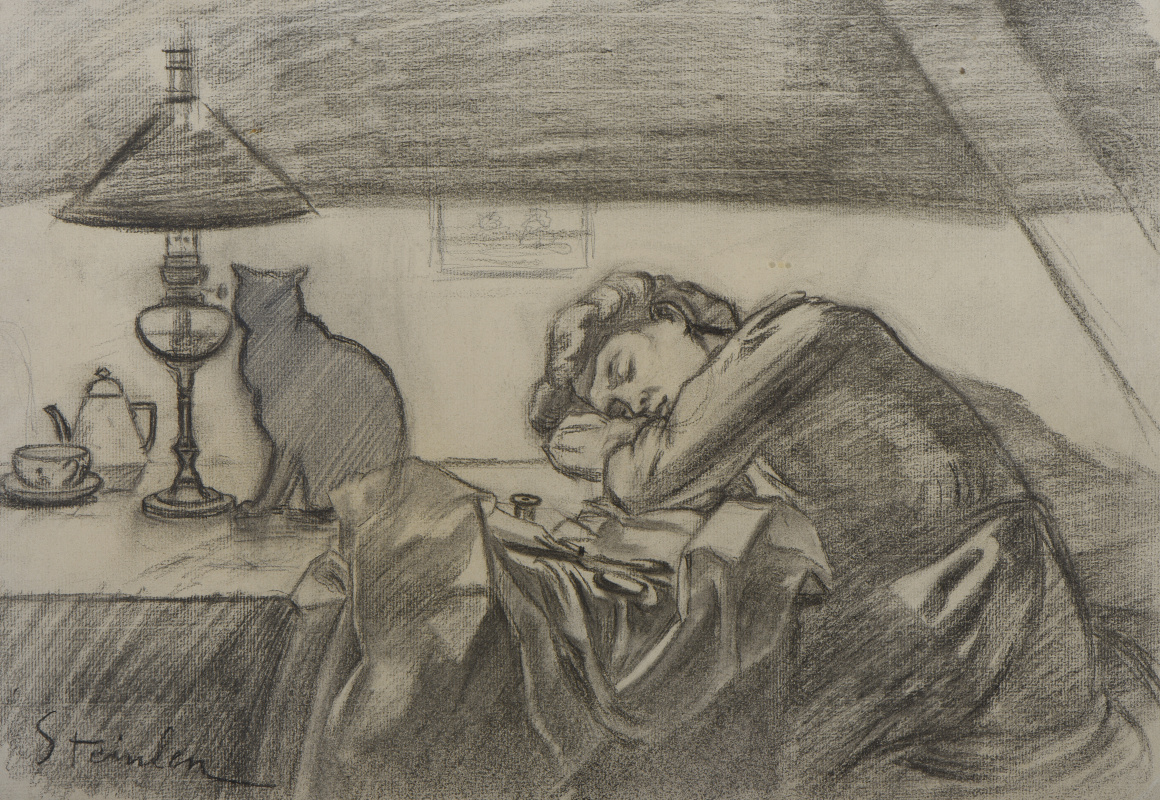 Theophile-Alexander Steinlen. The sleeping seamstress and the cat under the lamp