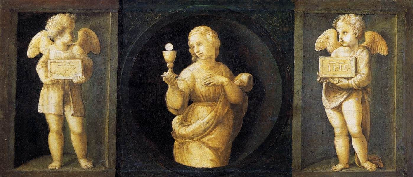 Raphael Sanzio. The altar of baloni, Central part, predella with images of the cardinal virtues. Hope and two angels