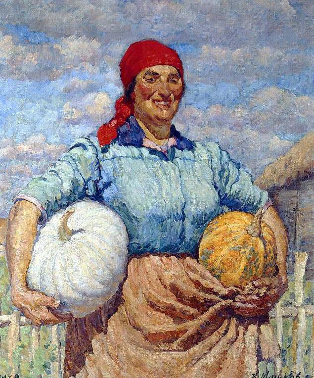Илья Иванович Машков. Колхозница с тыквами