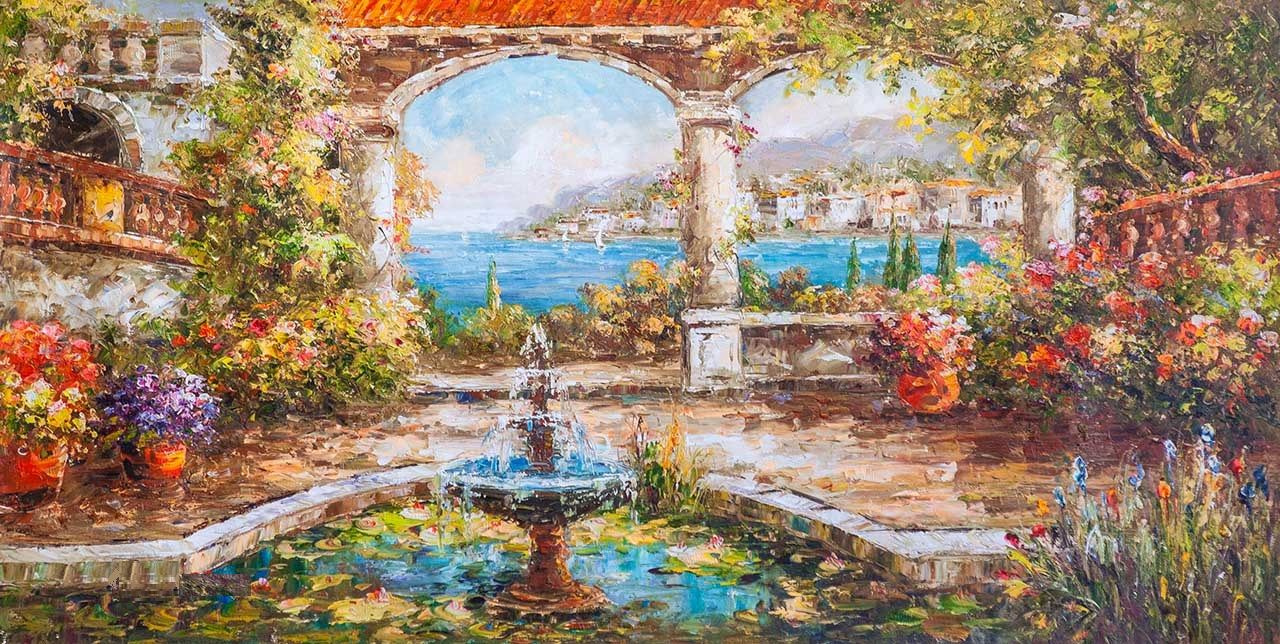 "Andrzej Vlodarczyk. Oil landscape ""Mediterranean courtyard. Fountain and water lilies"""