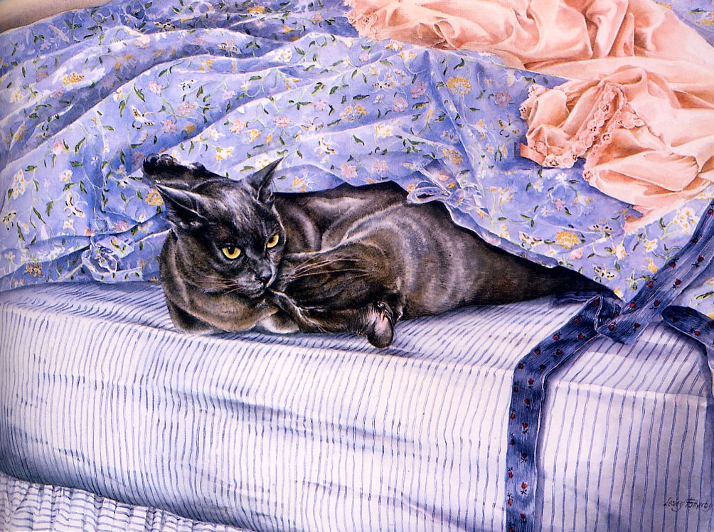 Leslie Fotherby. Cats in blue