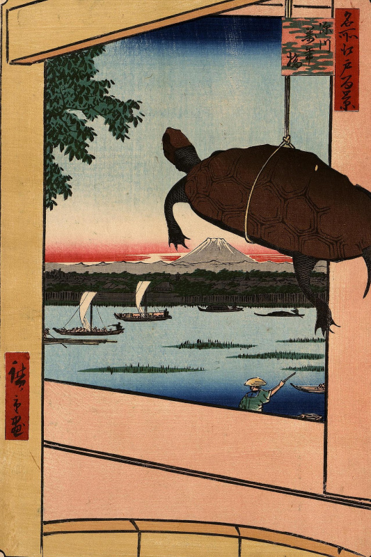 "Utagawa Hiroshige. Bridge Mannen-Bashi in the district of Fukagawa. The series ""100 famous views of Edo"""