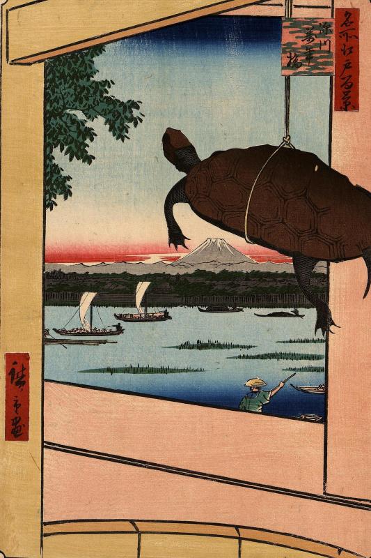 "Utagawa Hiroshige. Bridge Mannen-Bashi in the district of Fukagawa. The series ""100 famous views of Edo"""