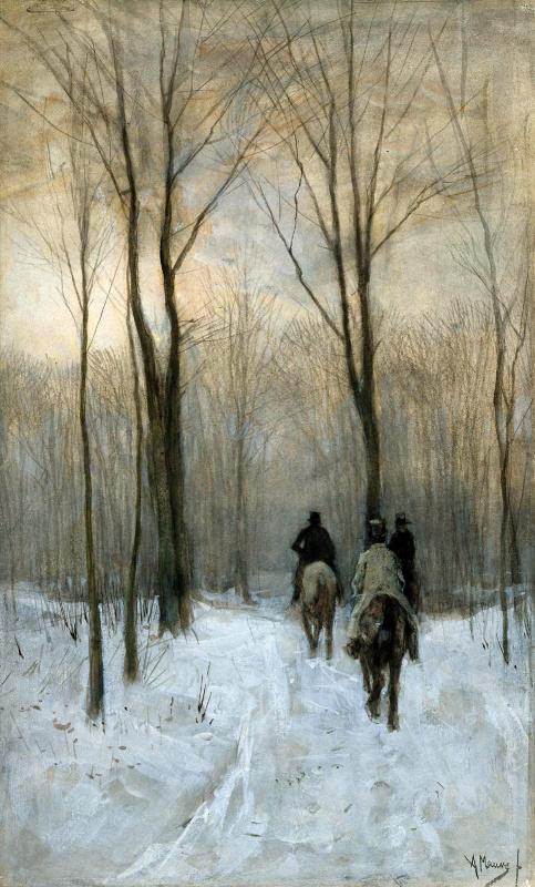 Антон Мауве. Всадники в снегу