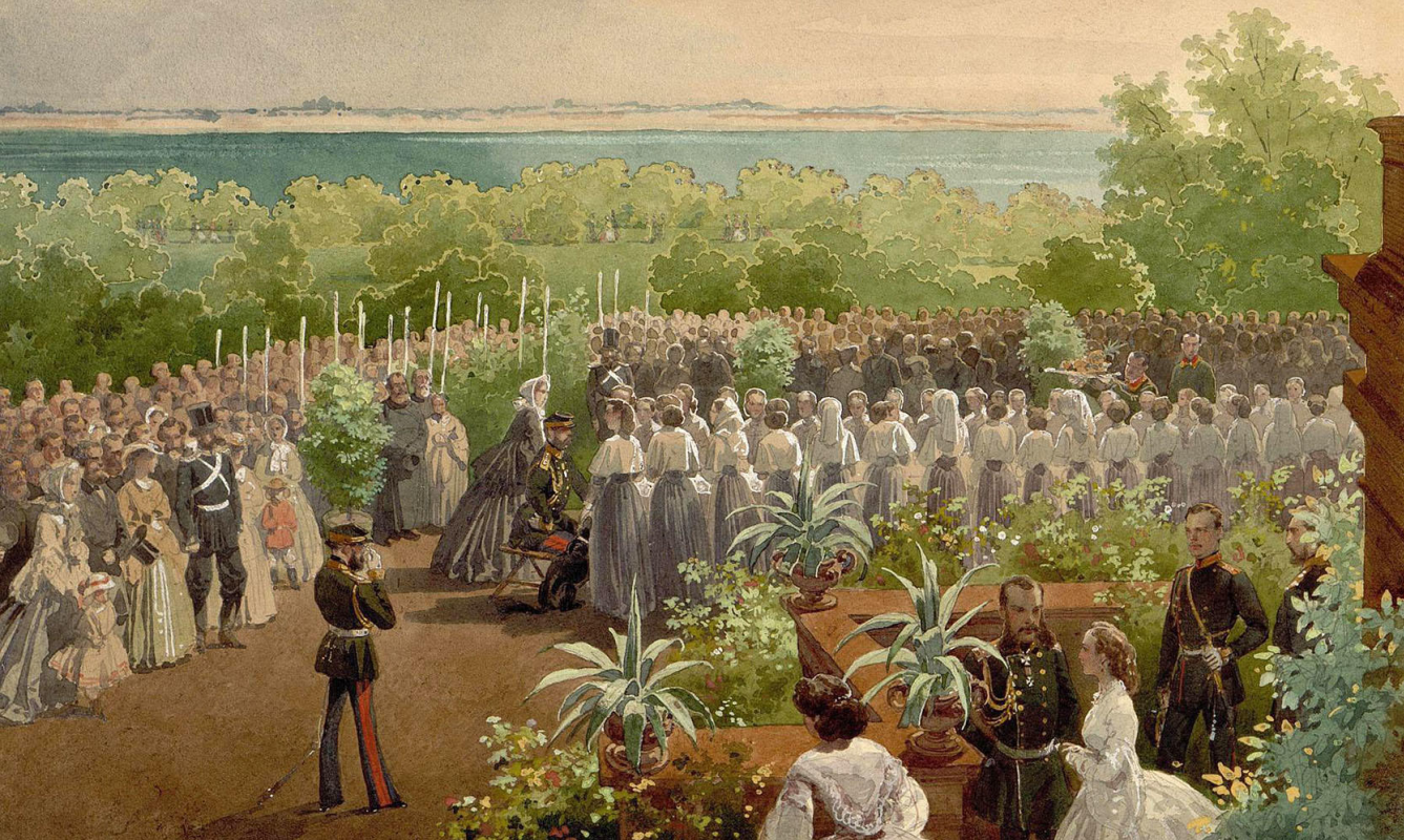 Mikhail Alexandrovich Zichy. Alexander II among the institutes in the garden. State Hermitage, St. Petersburg. Drawing entered in 1927 Transferred from the library of Alexander II in the Winter Palace.