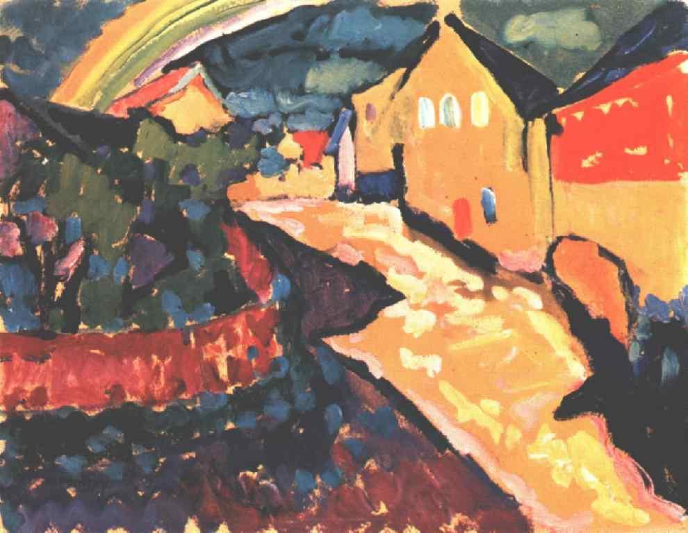 Wassily Kandinsky. Landscape with rainbow in Murnau