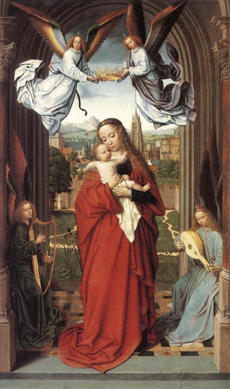 Герард Давид. Дева с младенцем и четырьмя ангелами