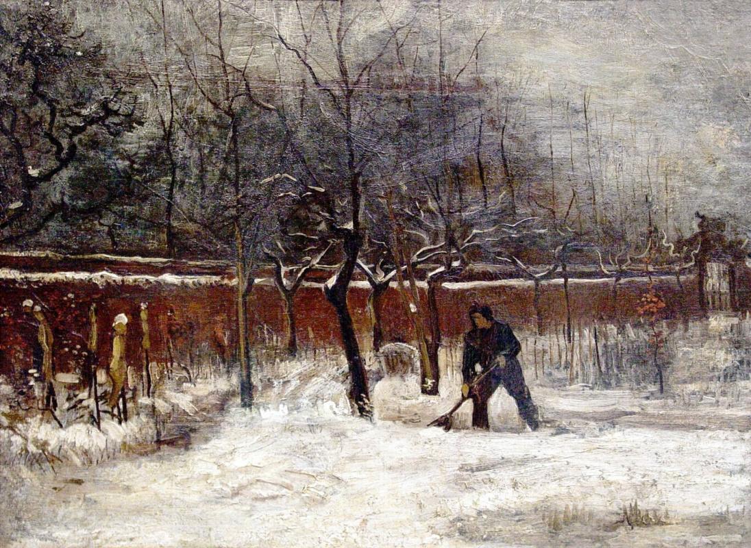 Vincent van Gogh. The garden of the parish priest in the snow, Nuenen
