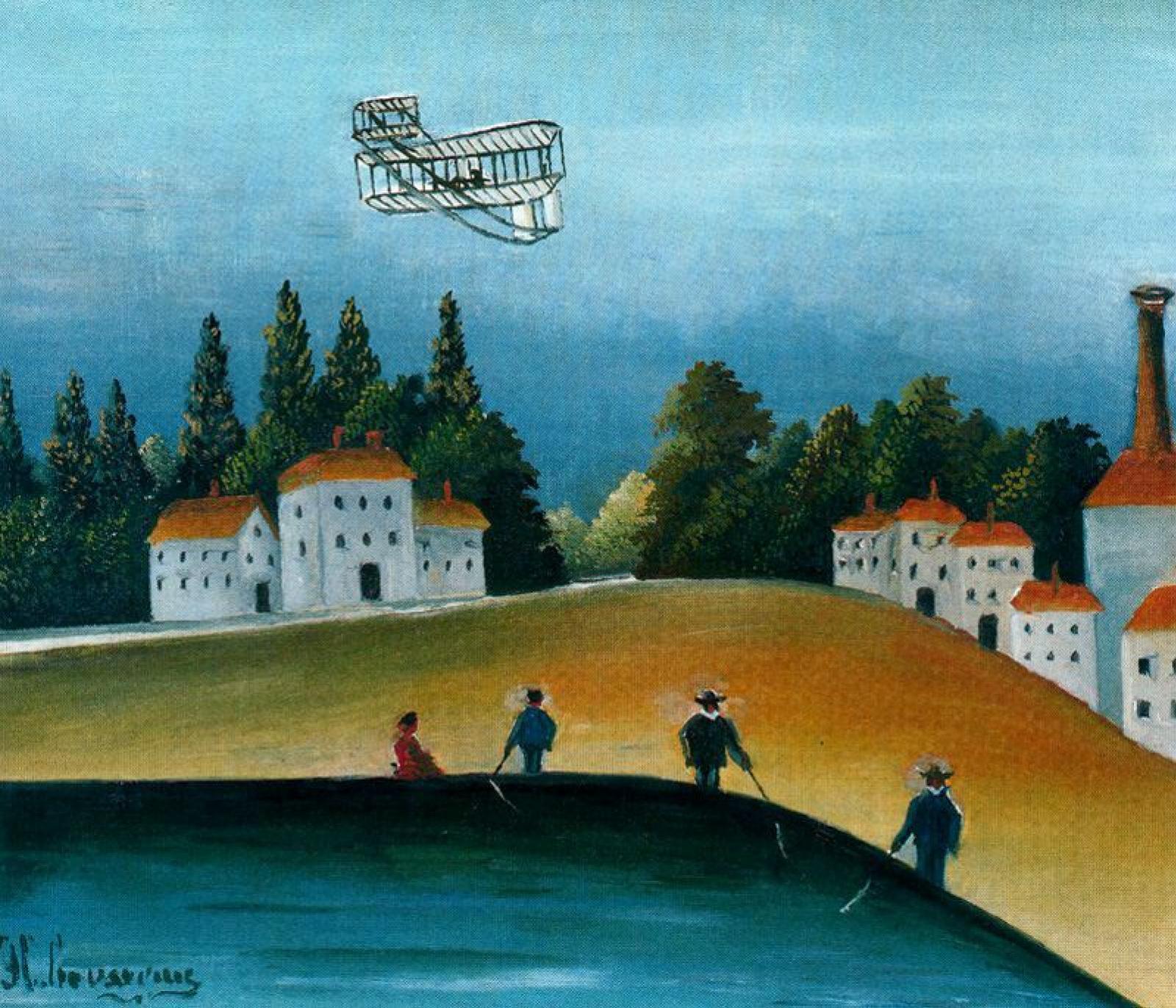 Henri Rousseau. The fishermen and the biplane