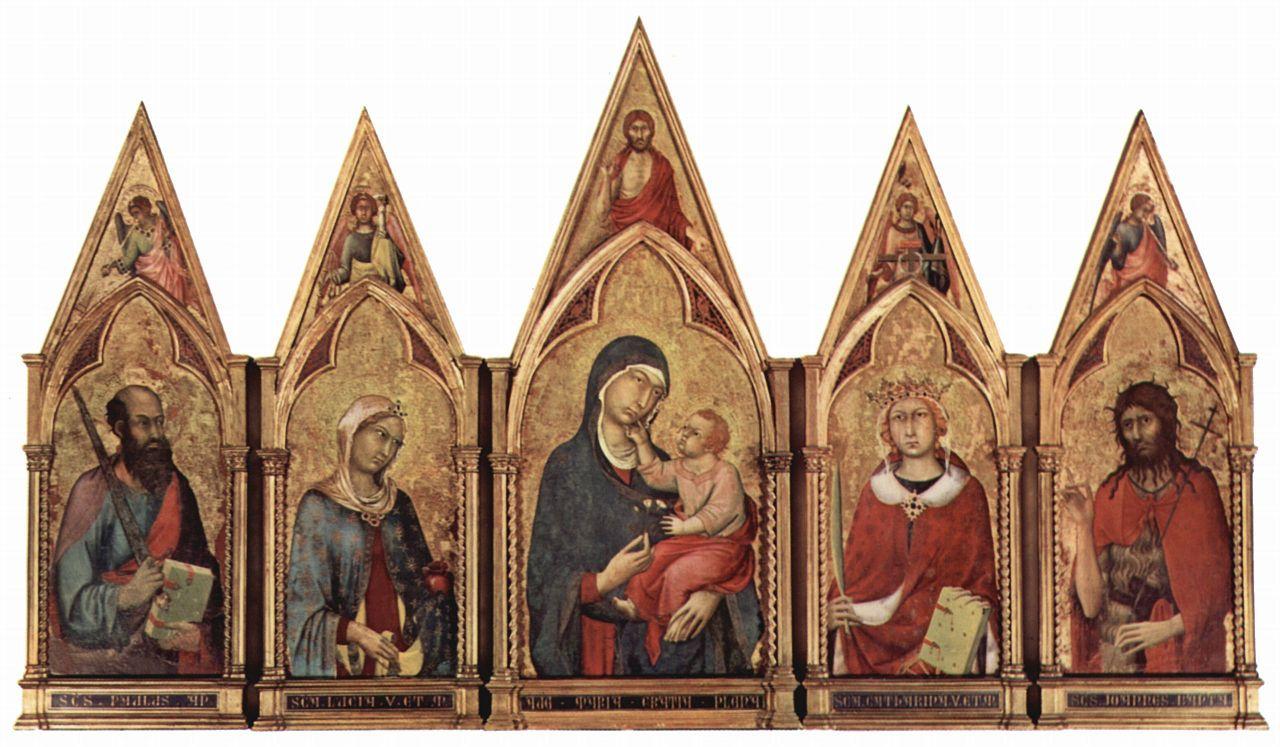 Симоне Мартини. Алтарь в Бостоне, Мадонна с благославляющим Спасителем, а также святыми и ангелами в поле тимпана