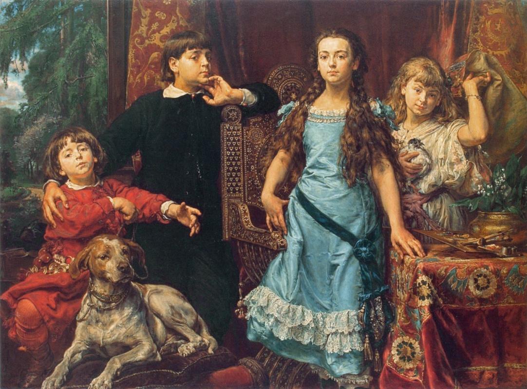 Ян Матейко. Портрет четырех детей художника