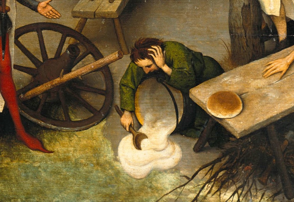 Pieter Bruegel The Elder. Flemish proverbs. Fragment: Spilled porridge is not collected back - if something is done, you can not return it back. To put a stick in the wheel - to obstruct the execution of other people's plans