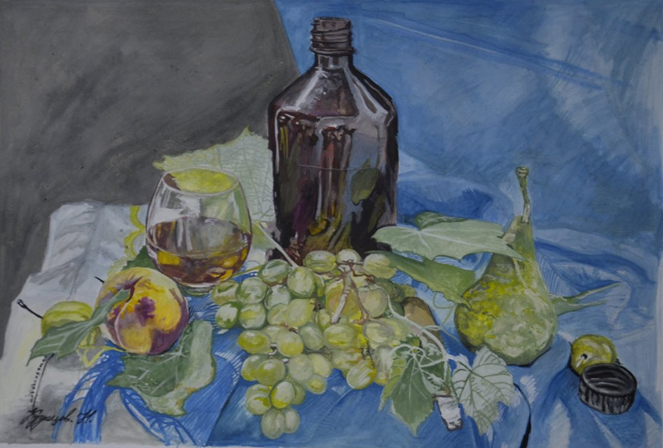 Kuznetsov.N. Fruit and a bottle.