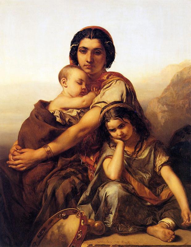 Луи Галле. Цыганка с двумя детьми