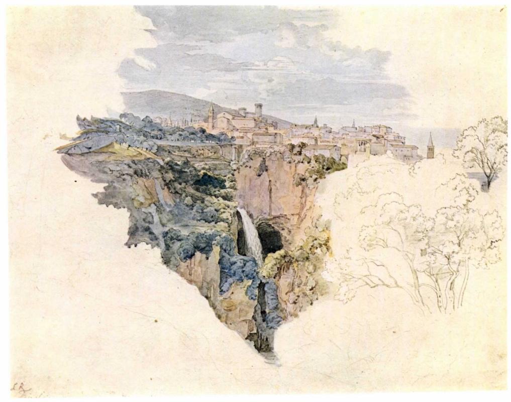 Адриан Людвиг Рихтер. Тиволи, вид на местность правее храма Сивиллы