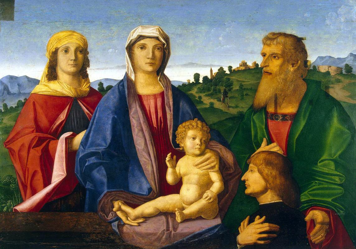Винченцо Катена. Мадонна с младенцем, святыми и жертвователем