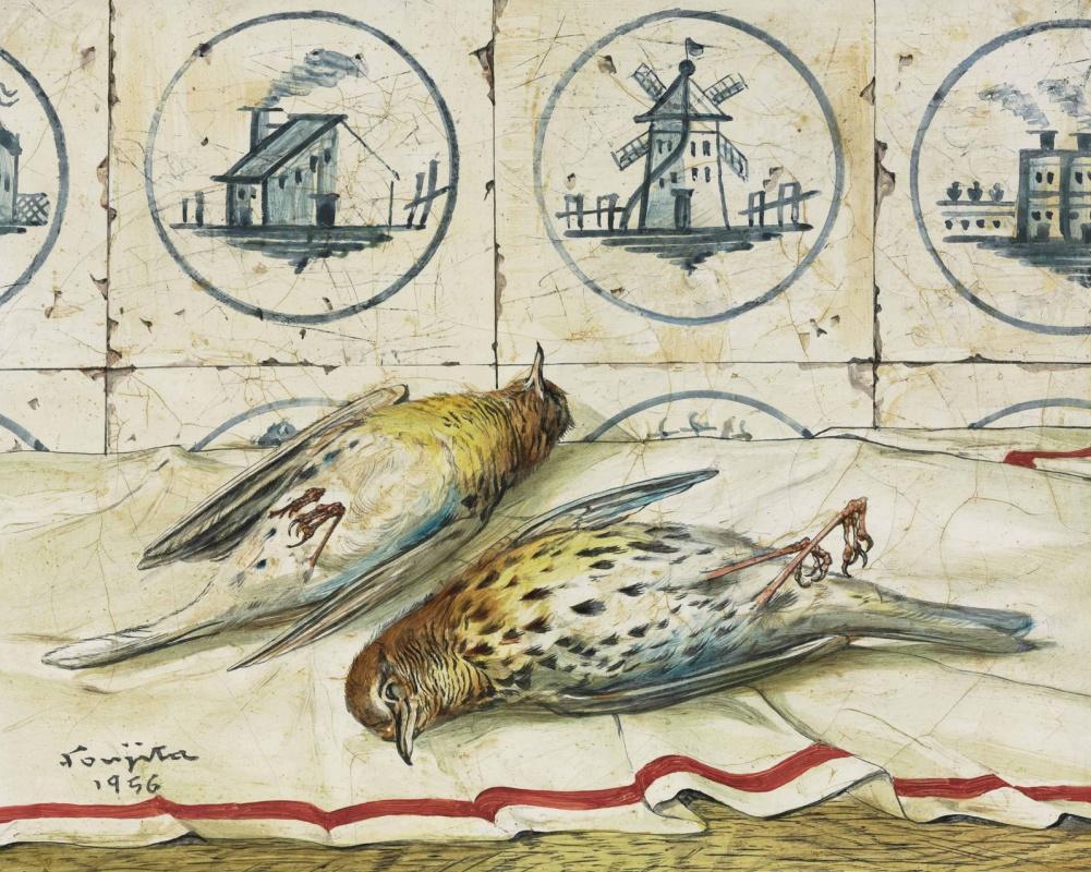 Цугухару Фудзита ( Леонар Фужита ). Still life with dead birds