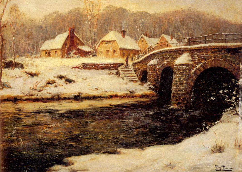 Фриц Таулов. Каменный мост через ручей в воде