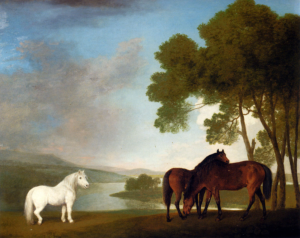 George Stubbs. White pony and two horses in a landscape