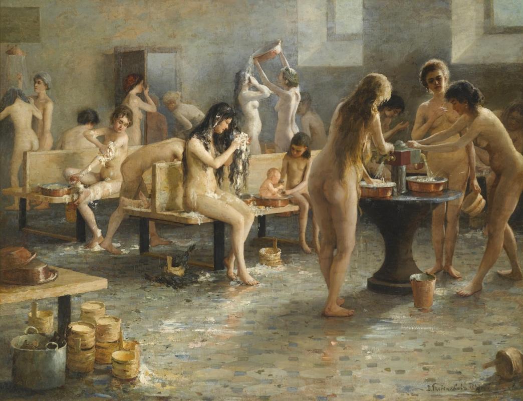 Vladimir Aleksandrovich Plotnikov. In the women's bath. 1897
