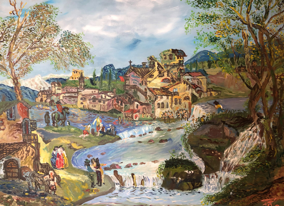 Sergey Vladimirovich Sebini. Building and people by the river. Variation on a theme by Mikole Marieski