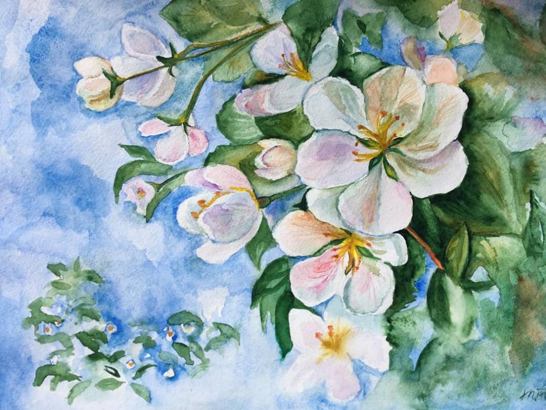 Marina Tumilovich. Apple tree in bloom