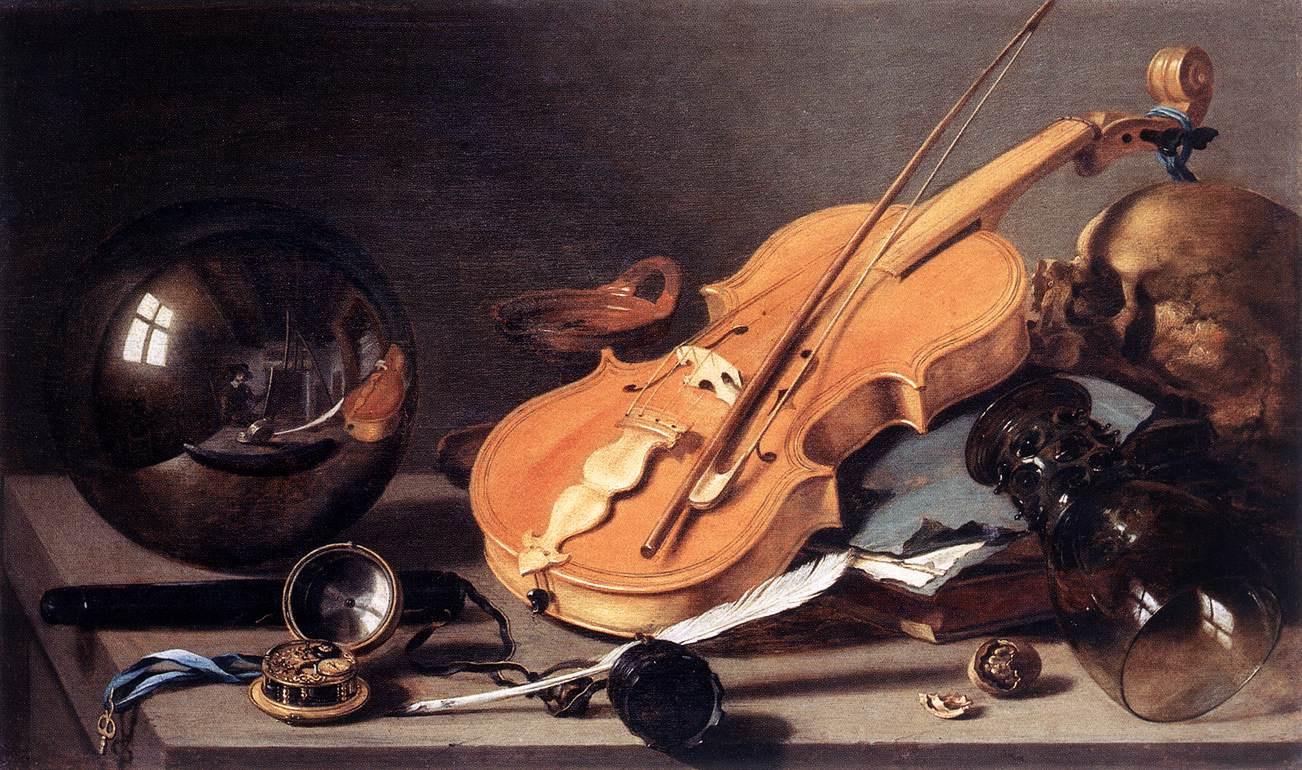 Питер Клас. Vanitas со скрипкой и стеклянным шаром