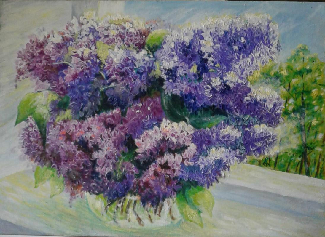 "Taslima Amirovna Namazova. Lilac "". Canvas on cardboard 25x35. Oil."