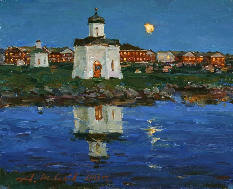 Alexander Shevelyov. Solovki.Night.Oil on canvas 32,2 # 40 cm 2013