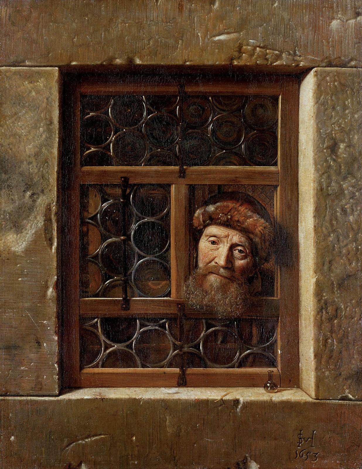Самюэл ван Хогстратен. Пожилой мужчина в окне