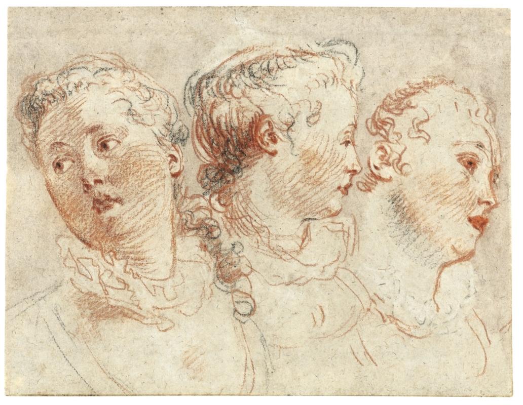 Антуан Ватто. Три эскиза женской головы