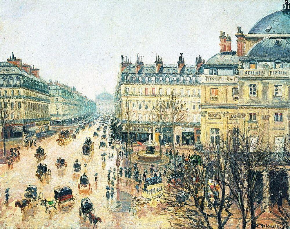 Camille Pissarro. Opera passage, Paris in the rain