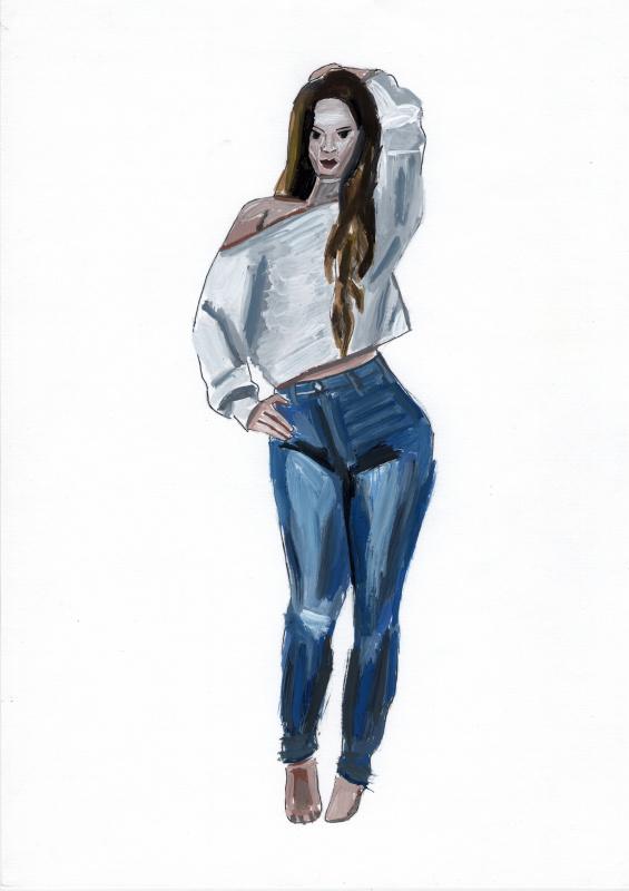 Полина. Женщина в белой блузке. Этюд