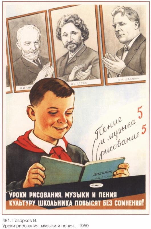 Плакаты СССР. Уроки рисования, музыки и пения...