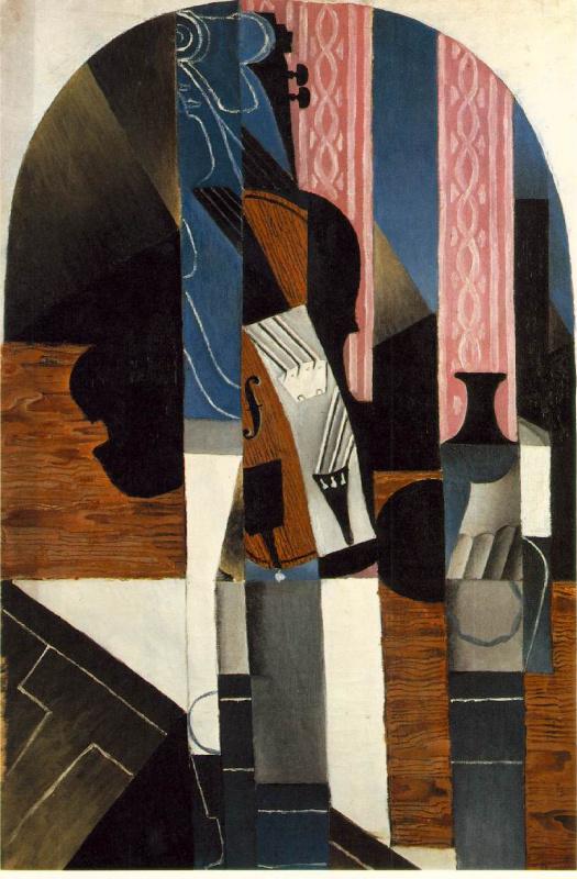 Хуан Грис. Скрипка и чернильница на столе