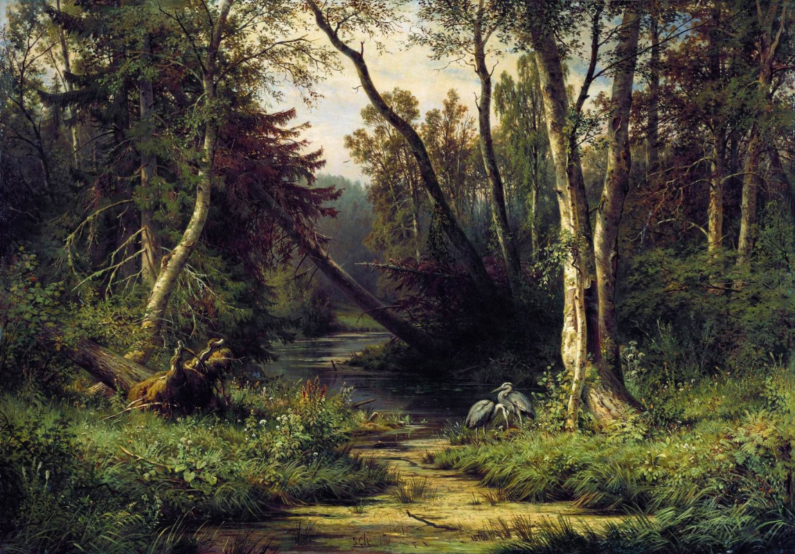 Ivan Shishkin. Forest landscape with herons