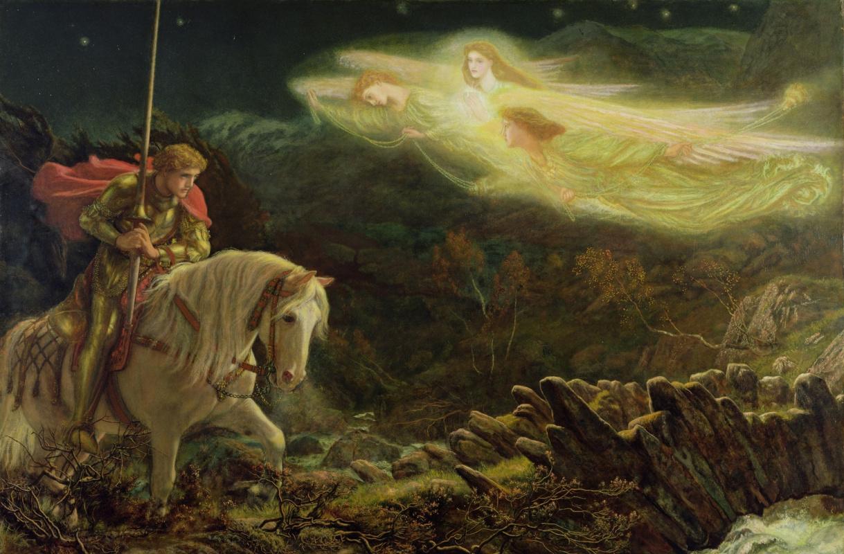 Arthur Hughes. Sir Galahad in Search of the Holy Grail