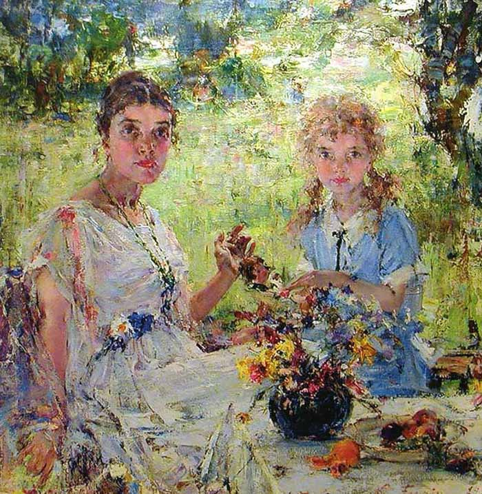 Nikolay Feshin. Summer (Portrait Of A. N. Pechiney with her daughter Ia)