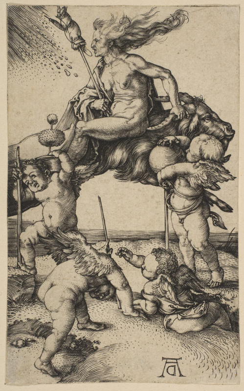 Albrecht Dürer. Witch riding backwards on a goat